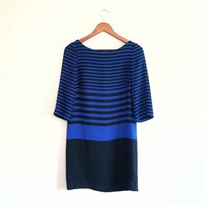 Zara Basic Colorblock Stripe Blue Black Dress
